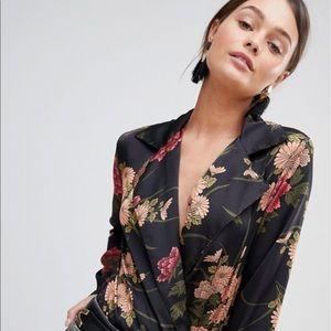 ASOS Parisian Floral Black Satin Blouse Bodysuit